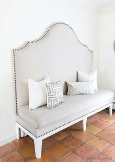 DIY Upholstered Kitchen Banquette With Nailhead Trim   Post Includes Full  Tutorial!