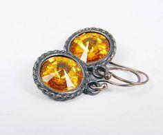 Dangle Earrings  Yellow Sunflower Earrings  Crystal by lindesigns, $19.50