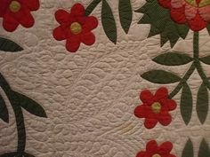 Whig Rose - Applique - circa by susanstars - hand quilting Rose Applique, Flower Quilts, Green Quilt, Traditional Quilts, Antique Quilts, Hand Quilting, Quilt Blocks, Hand Sewing, Liberty