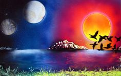 Spray Paint Art Original Ocean Sunset Landscape Large by EacArt
