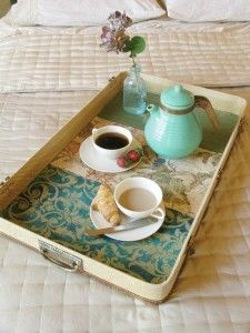 15 ways to repurpose a suitcase - tray from part of a suitcase