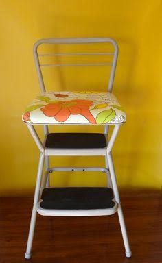Vintage Cosco Step Stool with lift up seat. I recovered the seat with a cool and colorful vintage floral vinyl. About from the floor to the top of back ... & YES! My kitchen chair/stool! I think Iu0027d rather do each piece a ... islam-shia.org