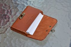 Leather Business Card Holder With Cool Clasp Leather by CLWorkshop