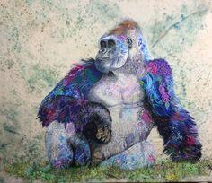 Silverback gorilla textile embroidered art