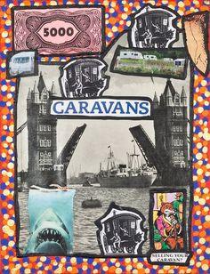 Damian Le Bas, Selling your Caravan, 2009 Caravan, Collages, It Works, Comic Books, Paintings, Comics, Artist, Stockings, Paint