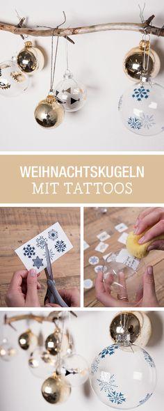 Gestalte Deine Weihnachtskugeln selbst mit Klebefolie und Tattoos / individual christmas balls, decorated with tattoos via DaWanda.com