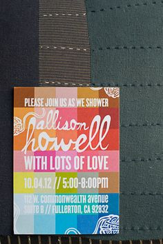 Invitation: Were in love with this invitation, created by Pitbulls and Posies. The vintage-looking colorblocking was continued throughout the party.   Source: Found Vintage Rentals