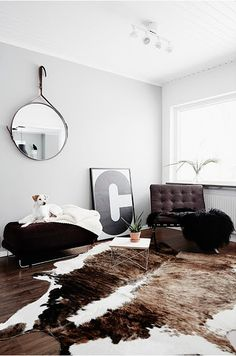 brown leather Barcelona chair, black white, cowhide