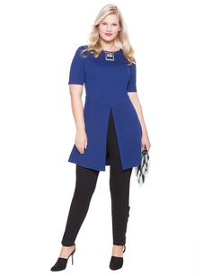 Studio Ponte Double Slit Tunic | Women's Plus Size Tops | ELOQUII