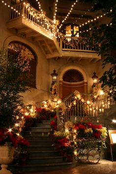 Poinsettia Lined Christmas Staircase | #christmas #xmas #holiday #decorating #decor