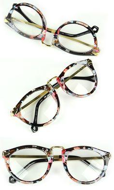 70ab7b9d00 Fashion Flowery Frame NEW Clear Lens Plain Glasses MEN Women Lady Nerd  Wayfarer