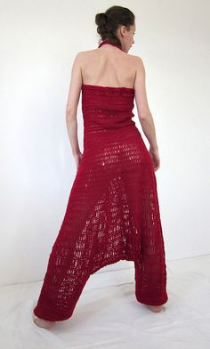 Crochet harem pants overall in deep red by AmeBa77 on Etsy, $240.00