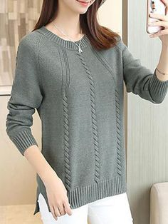 Round Neck Patchwork Elegant Plain Long Sleeve Knit Pullover - ninacloak.com Loose Knit Sweaters, Types Of Collars, High Collar, Pattern Fashion, Pullover, Long Sleeve, Casual, Elegant, Sleeves