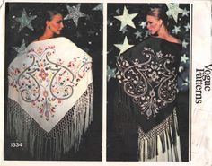 "26.99 USD  Vogue 1334; Vogue 1334 ca. 1975; Misses' Triangular Shawl. 1334 MISSES' SHAWL 1 PIECE Triangular shawl. Pattern contains non-reusable heat set transfers for placement of handworked fringe and em-broidery motif. ONE SIZE SHAWL 44/45"" wo nap 934 yds. of No. 5 Pearl Cotton or Chainette for Fringe. 31/2 MULTICOLOR EMBROIDERY TRANSFER One Spool each of Red Orange Yellow Purple Black and Two Spools of Green No. 5 Pearl Cotton. MONOCHROME EMBROIDERY TRANSFER Five Spools of Ecru No. 5…"
