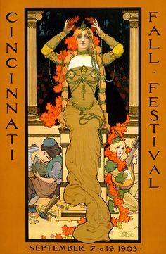 The poster announced the festival and shows a woman wearing art nouveau jewelry seated on a pedestal placing a wreath on her head. Children dressed as a craftsman and a musician sit next to the pedestal.     Free harbor jubilee, Los Angeles and San Pedro. April 26 and 27 1899