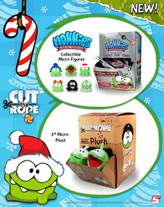 "(USA) Om Nom, the ultimate stocking stuffer! New mini plush and collectible micro figures now available at select Walmart, Toys ""R"" Us, Meijer and Kmart stores for under $5!"