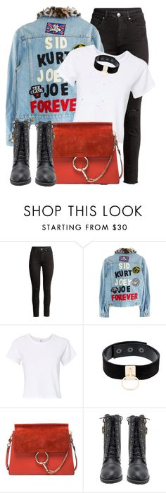 """Text"" by monmondefou ❤ liked on Polyvore featuring RE/DONE, Manokhi, Chloé, red and denim"