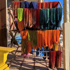 Taking advantage of the warm sun to dry out hand painted yarns. Stop in and grab a few for your next project. Knitting Wool, Yarns, Weaving, Hand Painted, Sun, Projects, Painting, Paintings, Art Yarn