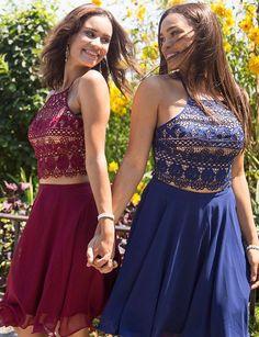 Two Piece A-Line Spaghetti Straps Short Homecoming Dress #homecomingdresses #shorthomecomingdresses #2018homecomingdresses #graduationdresses