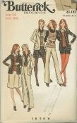An original ca. 1970's Butterick pattern 6508.  Misses' Jacket, Skirt, Pants, Shorts & Top. Semi-fitted jacket has shawl collar, full length sleeves, patch pockets and topstitch trim. A-line skirt, mini or two inches below knee, and wide legged pants or shorts are darted into waistband. Topstitch trim. Sleeveless top (for knits only) has scoop neckline. Purchased blouses and belts.