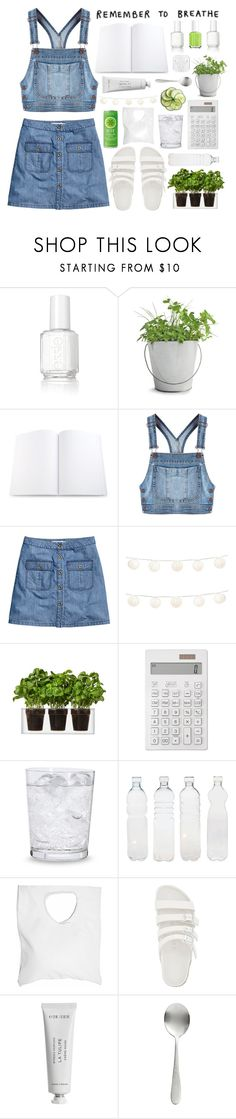 """""""Breath in denim"""" by tomorrow-xoxo ❤ liked on Polyvore featuring Essie, Potting Shed Creations, Moschino, H&M, LumaBase, Boskke, Muji, Schott Zwiesel, Seletti and Jennifer Haley"""