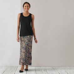 Taking style to new lengths in our paisley knit maxi skirt and Wearever tank
