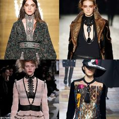 Trendy collar style for FW 2015: Build-in embellished statement necklace.Reem Acra, Tom Ford,  Alexander Mcqueen, and Lanvin Fall Winter 2015.More embellished necklace trend for FW 2015.Click on the Image to View it in Full Size.