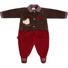 Macacão Longo para Bebê Menino em Plush Vermelho - Sonho Mágico :: 764 Kids | Roupa bebê e infantil