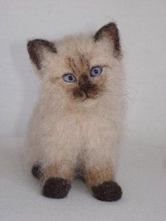 Needle Felted Siamese/Burman Kitten by Tamara111, via Flickr/ wow what a talent to be able to make this!