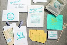 Simplesong Design created a stationery suite with a youthful turquoise and yellow palette for Kelly and Mark's wedding, held at a summer camp. The suite also included muslin favour bags printed with the wedding logo, stirrers and cocktail napkins.