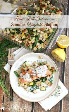 Lemon-Dill Salmon over Summer Vegetable Stuffing   EricasRecipes.com