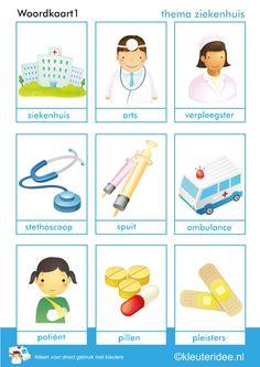 woordkaart 1 voor kleuters, thema ziekenhuis, kleuteridee, juf Petra, free printable