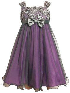 Amazon.com: Bonnie Jean Tween Girls 7-16 Purple Silver Bonaz Bodice Mesh Overlay Dress: Clothing