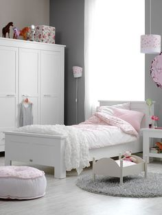 Gray and pastel pink Girls room..
