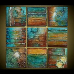 Original Abstract Painting - Abstract Art - TEXTURED Painting - Shades of Turquoise, Brown, Rust, Golden Amber and White - by Marie Bretz Texture Painting, Texture Art, Wal Art, Encaustic Art, Acrylic Art, Art Techniques, Painting Inspiration, Altered Art, Art Drawings