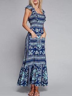 Vestido com Babados Longo Estampado - Compre Online