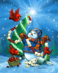 Popcorn and Berries by Janet Stever ~ Christmas ~ winter ~ snowman ~ Christmas tree ~ bright star ~ cardinals