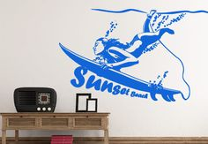 Pas cher Grand Mur Autocollants Surf Fille Sticker Home Decor Haute Étanche…