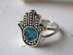 Hamsa Ring Small Hamsa Ring Silver Hamsa Ring Blue Hamsa