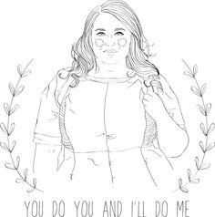 Danielle Vanier line drawing, plus size blogger inspirational quote