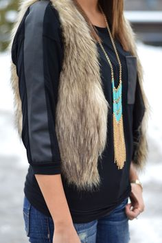 Native fringe necklace with fur. Love this idea for fall.