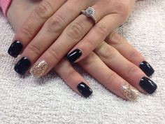 Black and gold glitter nails by Shannon Chomanczuk