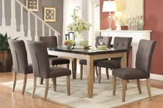Huron Collection Dining Table with Faux Marble Top 5285-64