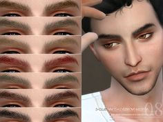 Eyebrows for men, 15 colors, hope you like, thanks!  Found in TSR Category 'Sims 4 Facial Hair'