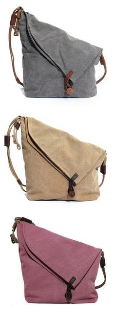US$39.89 Ekphero Women Vintage Messenger Bag_Genuine Leather Canvas Crossbody Bag _Tribal Rucksack