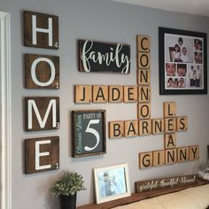 """HOME – Extra Large """"Scrabble"""" Style Wall Letter Tiles – Set of 4 – Gallery Wall Decor - balconydecoration. Deco Scrabble, Scrabble Wand, Scrabble Tile Wall Art, Art Decor, Diy Home Decor, Decor Ideas, Art Ideas, Family Wall Decor, Family Wall Collage"""