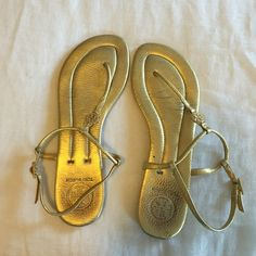 Tory Burch Sandals Only sign of wear on heel area. Not visible when wearing. Otherwise excellent condition! Tory Burch Shoes Sandals