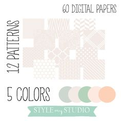 60 Digital Papers 12x12 inches 12 patterns + 5 colors