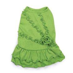 Rosette Ruffle Dog Dress in Green