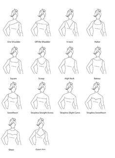 Neckline guide for wedding dresses Fashion Terminology, Fashion Terms, Fashion Guide, Wedding Dress Necklines, Necklines For Dresses, Wedding Dresses, Silhouette Mode, Dress Silhouette, Neckline Guide